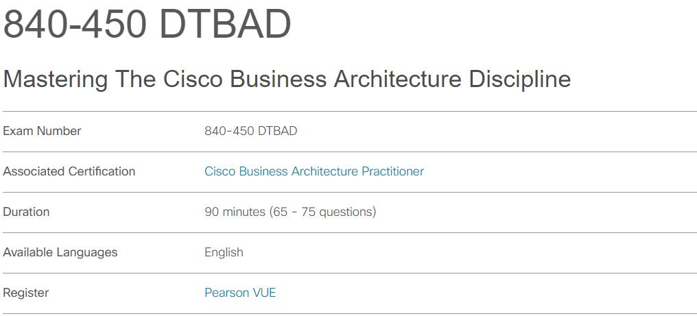 840-450 DTBAD Exam Information