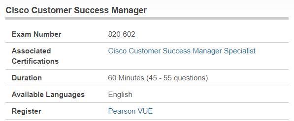 820-602 exam information - Cisco Customer Success Manager