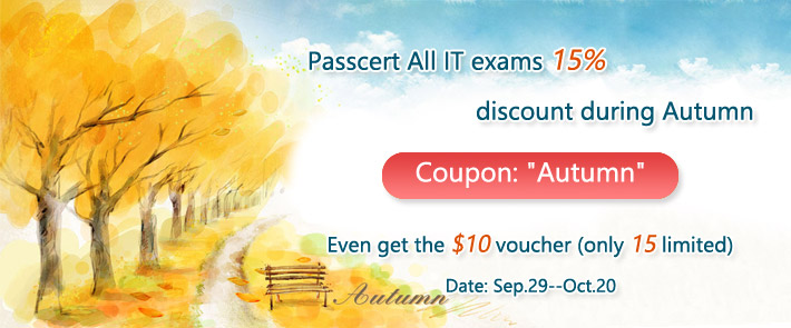 Passcert All IT exams 15% discount during Autumn